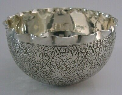 BEAUTIFUL ANGLO INDIAN SOLID SILVER BOWL c1900 KASHMIR ANTIQUE HEAVY 150g