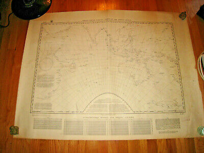 1921 GREAT CIRCLE SAILING CHART INDIAN OCEAN SEC NAVY Map/Chart #1284