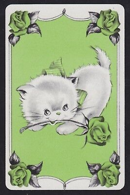 1 Single VINTAGE Swap/Playing Card CAT KITTEN GREEN BOW + ROSE FLOWERS