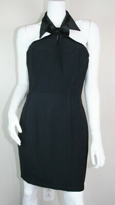 Thierry Mugler Vtg 80's Black Satin Collar Bow Tie Halter Tuxedo Dress 42