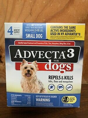 Advecta 3 for Small Dogs 4 Month Supply Same Active Ingredients K9 Advantix II