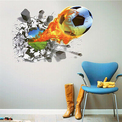 3D Soccer Football Through The Wall Stickers TV Background Removable Wall Decals