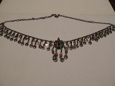 Turkish Antique Silver Belt Gold Plated Necklace
