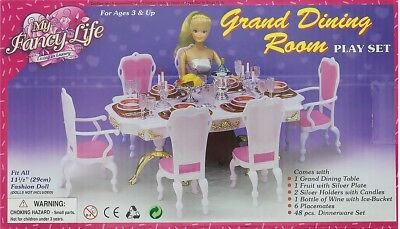 My Fancy Life Barbie Size Dollhouse Furniture Grand Dining Room Play Set