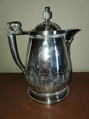 Antique Meriden B.Company Silver Plated Water Pitcher 1868 Bear figure on Handle