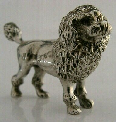 Rare Antique Sterling Silver Miniature Poodle Dog Figure Chester 1905