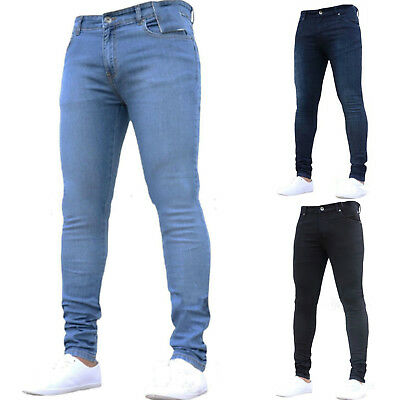 Mens Stretch Skinny Super Denim Pants Slim Fit Straight Leg Jeans Long Trousers