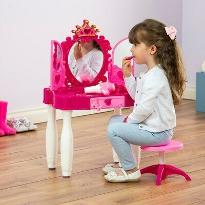 NEW Kids Childrens Pink Lights And Sounds Vanity Dressing Table With Mirror