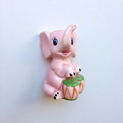 Vintage Retro Pink Elephant Musician Salt Or Pepper Shaker - 1950's Unused