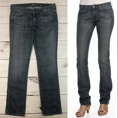 $229 7 Seven For All Mankind 29 Kate Straight Leg Embroidered Midrise Jeans 7FAM