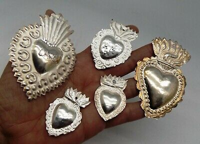ANTIQUE LOT 5 Sacred Heart Jesus Ex Voto MIRACLE MILAGRO STERLING SILVER 925 Z32