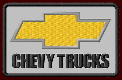 """CHEVY TRUCKS EMBROIDERED PATCH ~3-7/8"""" x 2-1/2"""" BOWTIE CAR RACING PICKUP ADVANCE"""