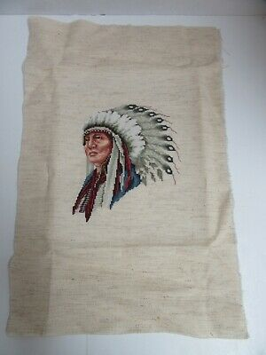 Finished Cross Stitch Native American Indian Chief Completed 10x12