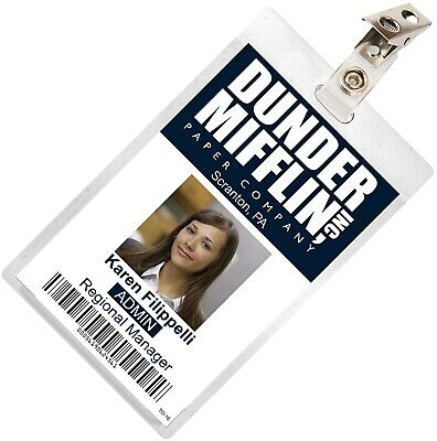 The Office KAREN FILIPPELLI Dunder Mifflin ID Badge Costume Name Tag TO-16