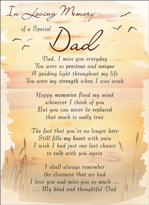 DAD Plastic/Waterproof/Grave/Memorial/Remembrance/Tribute Card ANY Relation