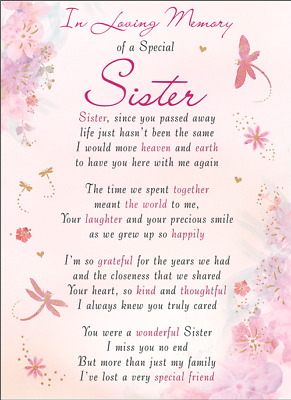 SISTER Plastic/Waterproof/Grave/Memorial/Remembrance/Tribute Card ANY Relation
