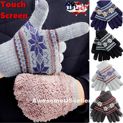 Men Women Touch Screen Winter Snow Gloves Warm Thick Knit Thermal Insulated Gift