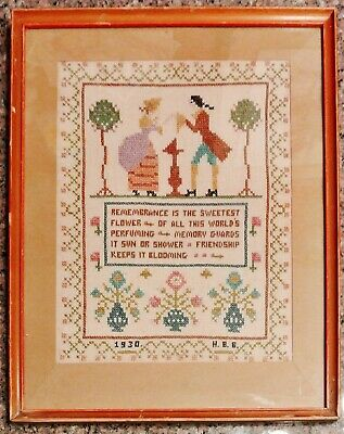 Vintage Sampler 1930 Embroidery And Cross Stitch - Remembrance 1930s