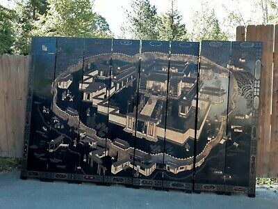 Antique Chinese Ancestral Coromandel Screen Lacquered 8 panel 8'x12'