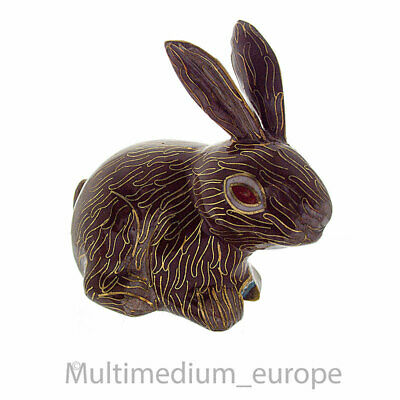 Cloisonné Emaille Hase Figur China emailliert enamel bunny rabbit 🌺🌺🌺🌺🌺