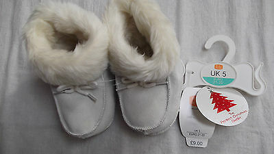 Baby Girls Boys Mini Mode Fur Lined Cream Slipper Boots,Uk 5 (Eu 21/22)Xmas Gift