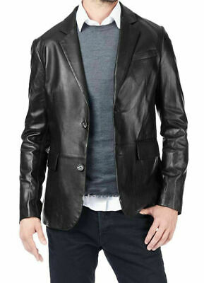 Men's Genuine Lambskin  Blazer Jacket Two Button Slim Fit Real Leather Coat