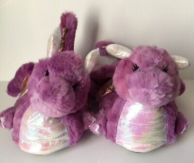 Girls Next Fluffy 3D Dragon Lilac Purple Slippers - Sizes 12, 13, 1, 2 & 3 - NEW
