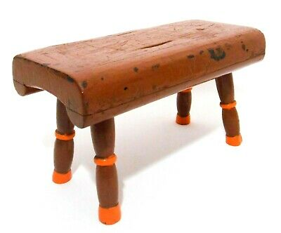 Late 19Th-Early 20Th C Antique Primitive Small Child's Hand Painted Wood Stool