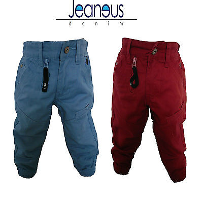 Toddlers Chinos Cuffed Jogger Jeans Red Blue 2/3 3/4 5/6 7/8