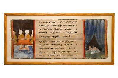 Late 18Th-Early 19Th C Antique Thai Buddhist Manuscript Figurative W/C Folktale