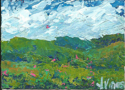 Original Abstract Acrylic Knife Mountain Landscape Painting TEXTURE ACEO ART ATC