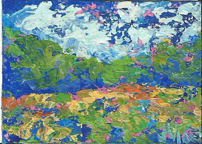 Original Abstract Acrylic Knife Trees Green Landscape Painting ACEO ART Card ATC