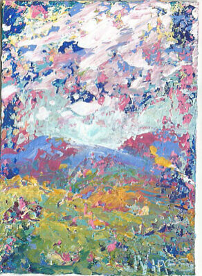 SALE Original Abstract Acrylic Knife Mountain Landscape Painting ACEO ART modern
