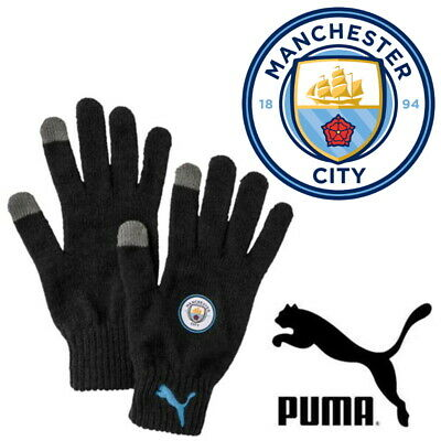 PUMA Official Manchester City Football Club MCFC Knitted Touchscreen Gloves