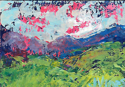 Original Abstract Acrylic Knife Mountain Mist Landscape Painting ACEO ART small