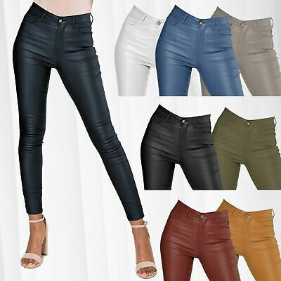 Damen Hose Leder Optik Biker High Waist Röhre Skinny Slim Treggings Kunstleder
