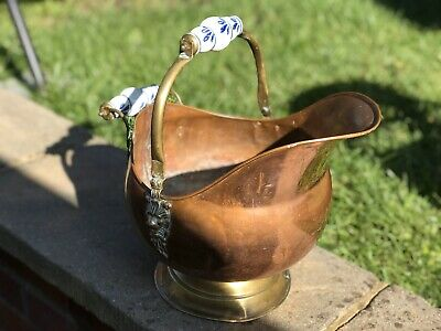 Vintage Large Georgian French Copper/Brass Coal Bucket
