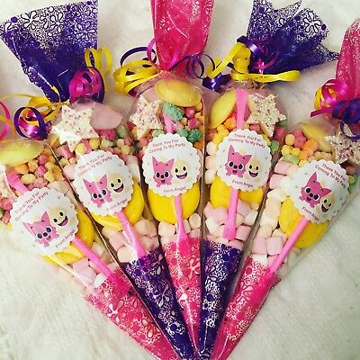 Baby Shark Pre Filled Sweet Cone Cones Party Bag Fillers Birthday Favours