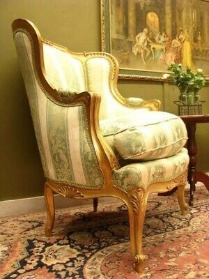 Elegant French Louis Xv Style Armchair / Chair #1 ~ Finely Carved Gilt Frame