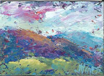 Original Abstract Acrylic Knife Mountain Landscape Painting ACEO mini ART card