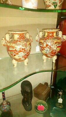 A Pair Of Very Rare Antique Signed Japanese Kutani Ceramic Censers, Circa 1800.