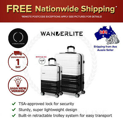 Travel Suitcase Set TSA Lock Hard Shell Case Black Luggage White Lightweight NEW