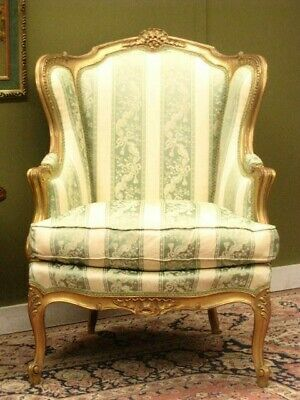 Elegant French Louis Xv Style Armchair / Chair #2 ~ Finely Carved Gilt Frame