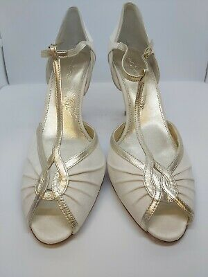 "BNIB Rachel Simpson Bridal Ivory and Gold ""Mimi"" Wedding Shoes, Size 9/43"