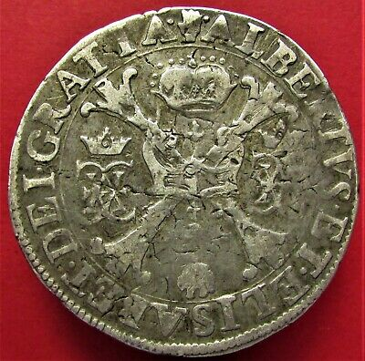 Silver Coin Spanish Netherlands Albert and Elisabet 1598-1621 Brabant 1 patagon