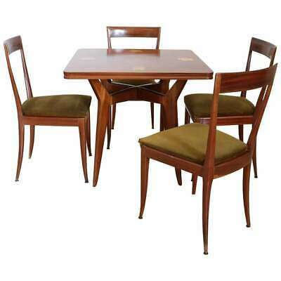 20th Century Italian Design Inlaid Mahogany Dining Table with Four Chairs