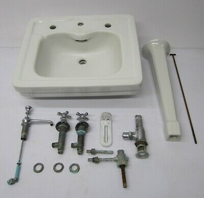 Vtg 1930s Antique American Standard Pedestal Bathroom Sink White Ceramic E117