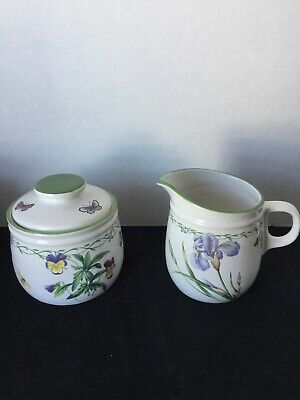 Studio Nova Garden Bloom Cream and Sugar Bowl Set Pansies Irises Butterflies