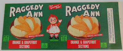 RAGGEDY ANN /& ANDY~Vintage~Can Labels~Orange /& Grapefruit~Lot of 6~NEW UNUSED