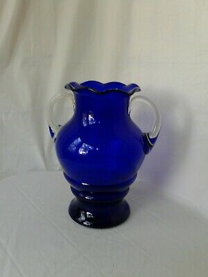 Louie Glass Co. Cobalt Blue W/Clear Double Handled Large Vase Ruffled Edges